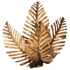 Palm Tree Sconce Handmade in Brass by Maison Jansen