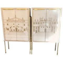 Pair of Murano Italian Glass and Hand Painted Cabinets with Brass Detailing