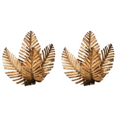 Pair of Palm Tree Fixtures Handmade in Brass