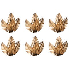 Brass Palm Tree Sconces, Set of Six