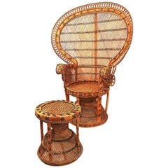 """Large Wicker Cane Peacock """"Emmanuelle"""" Chair with It's Matching Stool"""