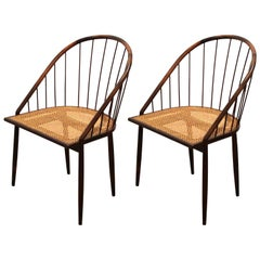 Pair of Brazilian Modern Cane Curva Chairs by Joaquim Tenreiro