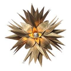 Maison Jansen Star Shaped Palm Tree Style Brass Sconce