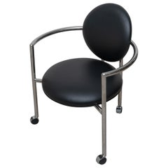 Black Leather and Chrome Arm Chair