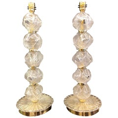 Pair of 20th Century Italian Murano Clear Glass Hand Blown Lamps