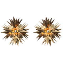 Maison Jansen Pair of Star Shaped Palm Tree Style Brass Sconces
