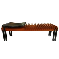 Vintage Wood Teak Bench in Lacquered Metal, Italian Production, 1960s