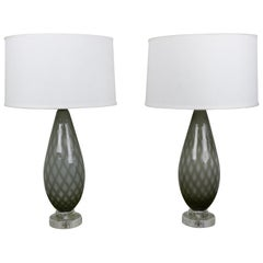 Pair of Grey and White Murano Table Lamps