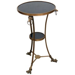Solid Brass French Regency Style Black Granite Top Gueridon Table With Eagles