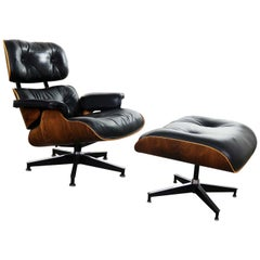 Vintage Eames Lounge Chair & Ottoman in Black Leather & Rosewood Herman Miller