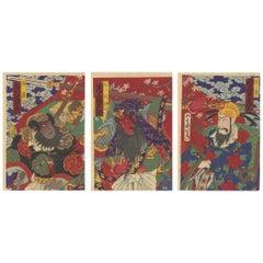 Original Japanese Woodblock Print, Romance of the Three Kingdoms, Guan Yu, Meiji