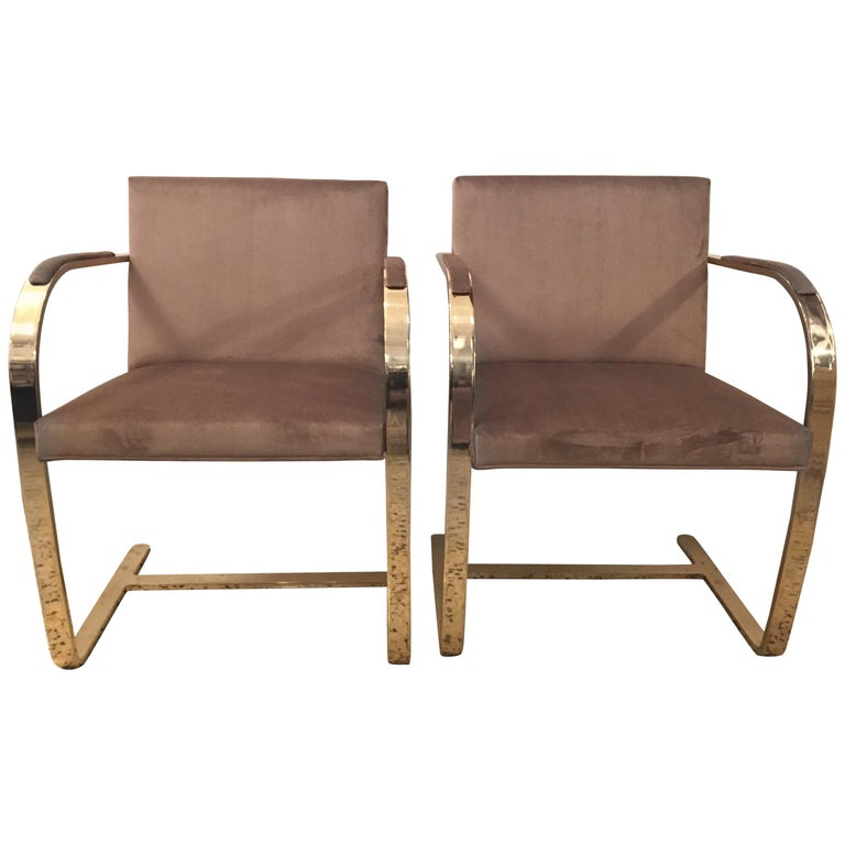 Ten '10' Vintage Solid Brass Brno Chairs by Ludwig Mies van der Rohe For Sale