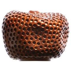Wabi Sabi Small Hand Carved Ceramic Vase, Brown Contemporary Vessel, Sculpture