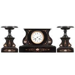 French 19th Century Aesthetic Movement Three-Piece Clock Garniture