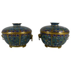 Pair of Chinese Cloisonne Bowls and Covers, early 19th Century, Qing Dynasty