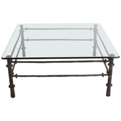Giacometti Style Patinated Metal Coffee Table