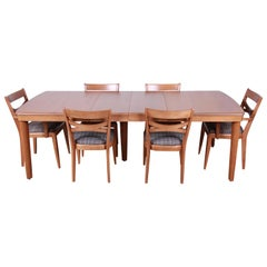 Heywood Wakefield Mid-Century Modern Extension Dining Table and Chairs