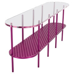 Miami Console in Pink Anodized Aluminum and Polished Acrylic by Jonathan Nesci