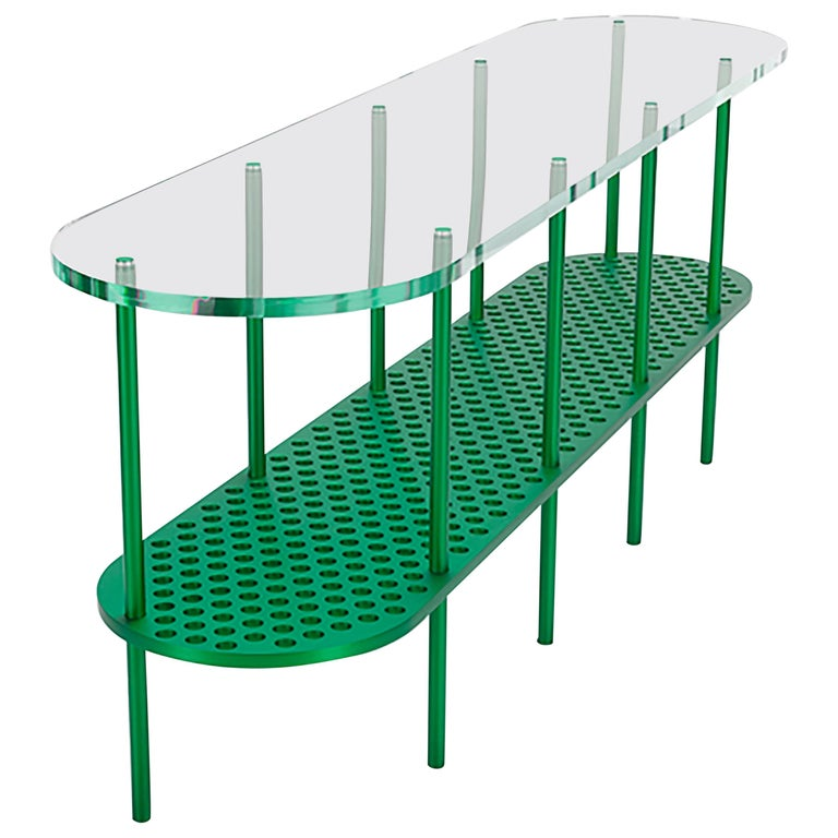 Miami Console in Green Anodized Aluminum and Polished Acrylic by Jonathan Nesci For Sale