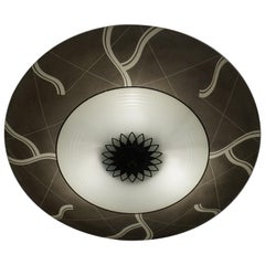 Unique Mid-Century Modern Glass and Brass Flush Mount With Eye Ball Pattern