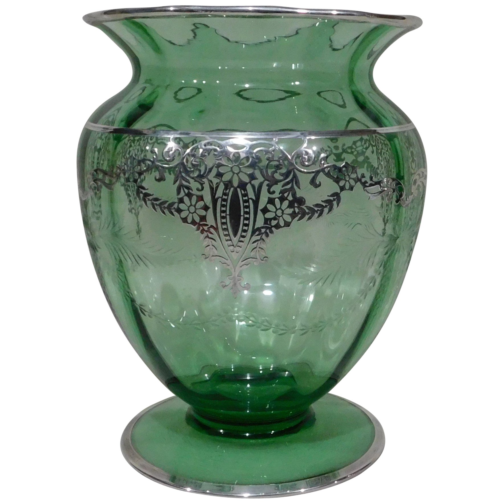 American Wheeled Cut Green Glass Vase with Silver Overlay, circa 1920s