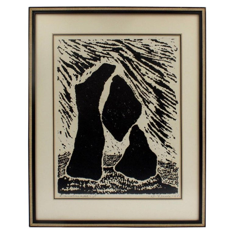 Landscape, a Mid-Century Modern Lithographic Print on Paper by Stanley Lewis For Sale