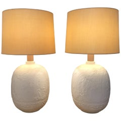 1960s Textured Plaster Table Lamps
