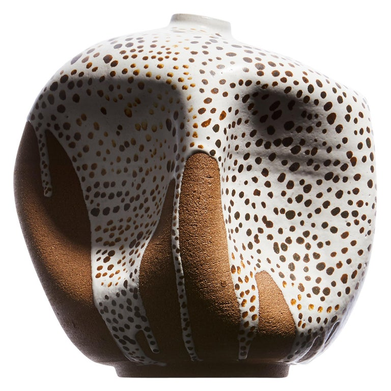 White Dots Contemporary Hand Painted Ceramic Vase Wabi Sabi Handmade Sculpture For Sale