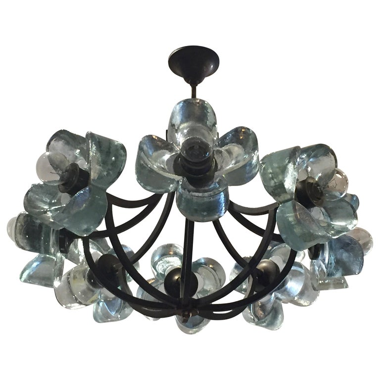 Exceptionally Rare Glass Daisy Chandelier For Sale