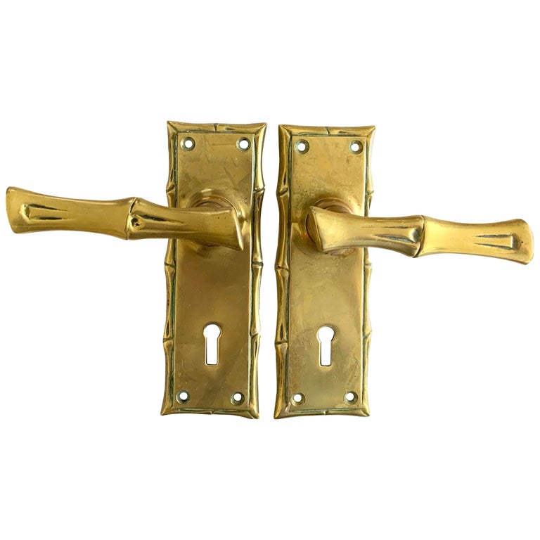 Pair of Cast Brass Faux Bamboo Door Handles For Sale