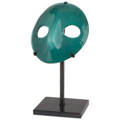 "Vintage ""Venini Mask"", Green Murano Glass, 20th Century"
