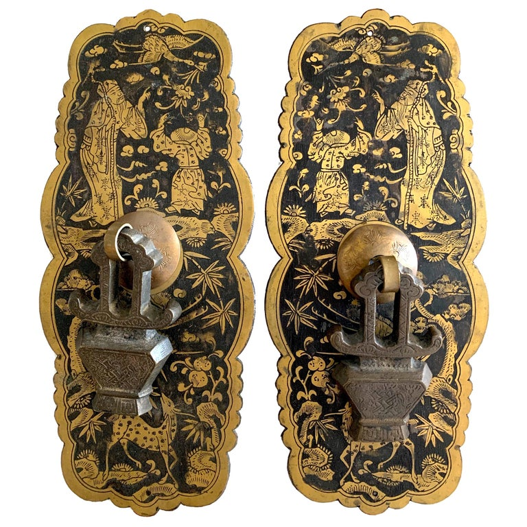Pair of Etched Brass Chinoiserie Hardware For Sale
