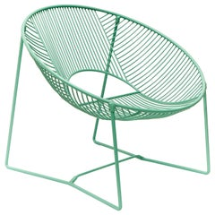Handcrafted Outdoor Cali Wire Lounge Chair, Green Powder-Coated Steel