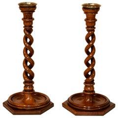 Pair of 19th Century Walnut Open Twist Candlesticks