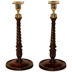 Pair of Exquisite 19th Century Mahogany Candlesticks