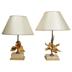 French Travertine and Brass Flower Table Lamps, 1970s, Pair of Two