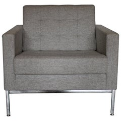 """Knoll Studio """"Florence Knoll"""" Lounge Armchair in Mid-Grey Wool"""
