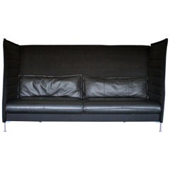 "Vitra ""Alcove"" Three-Seat Sofa in Black ""Credo"" and Leather by R & E Bouroullec"