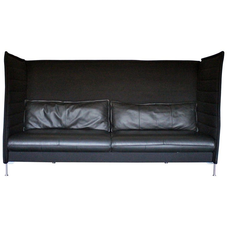 """Vitra """"Alcove"""" Three-Seat Sofa in Black """"Credo"""" and Leather by R & E Bouroullec For Sale"""