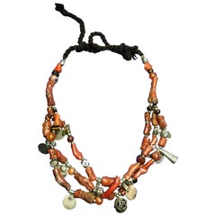 Antique Branch Coral Necklace, Handmade Multi-Strand, Silver Coins Morocco