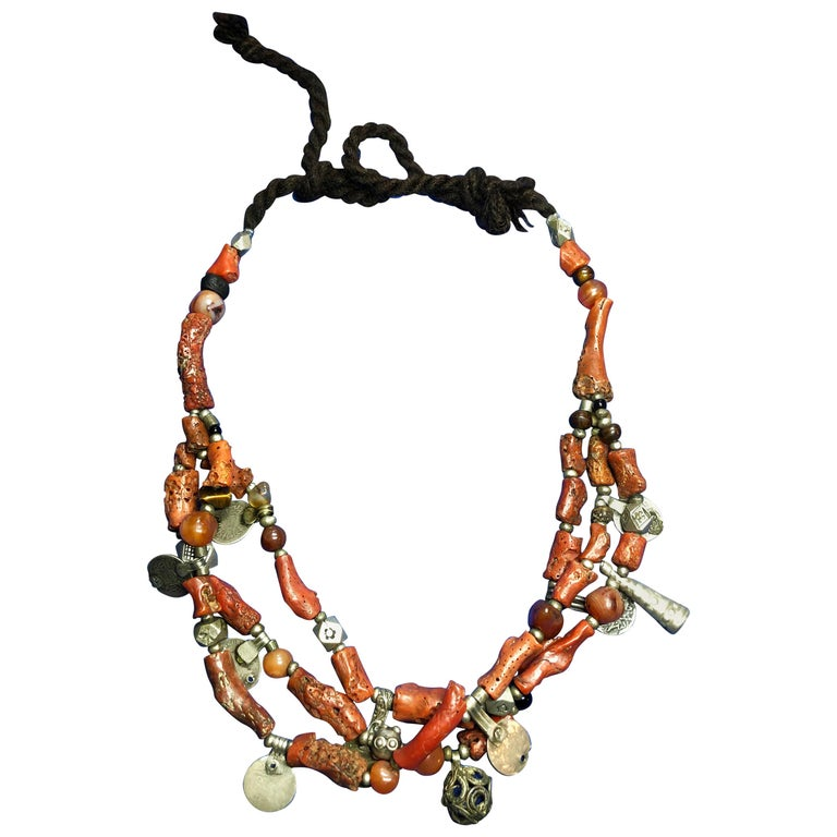 Antique Branch Coral Necklace, Handmade Multi-Strand, Silver Coins Morocco For Sale