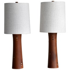 Jane & Gordon Martz, Table Lamps, Walnut, Ceramic, Linen Marshal Studios, 1950s