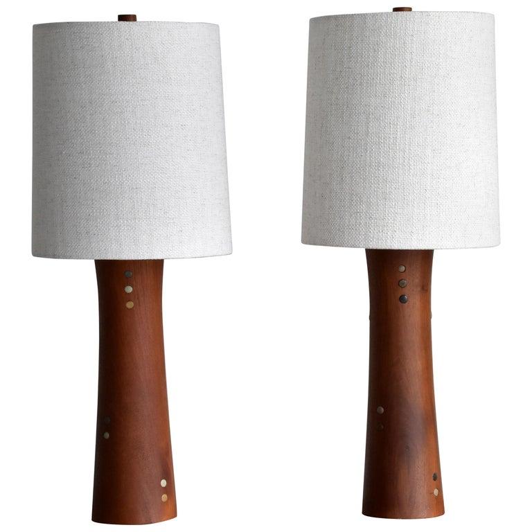 Jane & Gordon Martz, Table Lamps, Walnut, Ceramic, Linen Marshal Studios, 1950s For Sale