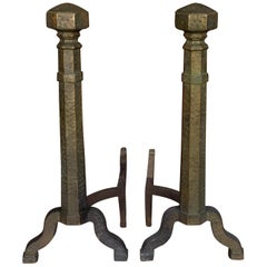 Pair of Large Art Deco Andirons