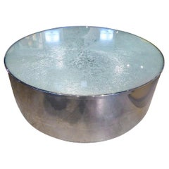 Steve Chase Circular Steel and Crackled Glass Coffee Table, circa 1970s