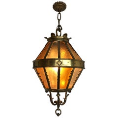Large Gothic Revival Bronze and Brass and Amber Glass Angular Lantern or Pendant