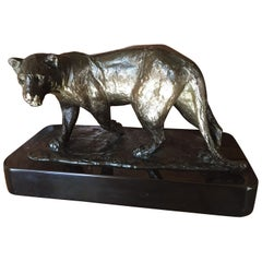 French Bronze Sculpture of a Lioness / Roger Godchaux & Susse Lost Wax /Desk Art