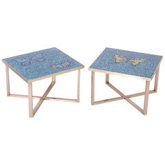 Pair of Midcentury Mosaic Tile Top Tables