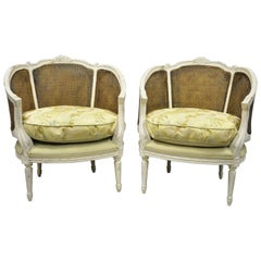 Pair of Caned French Louis XVI Style White Distress Painted Bergere Salon Chairs