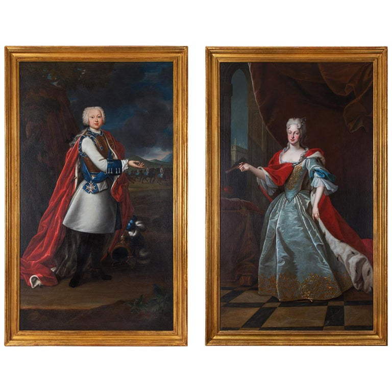 Pair of 18th Century École Française Portraits of the House of Habsbourg For Sale